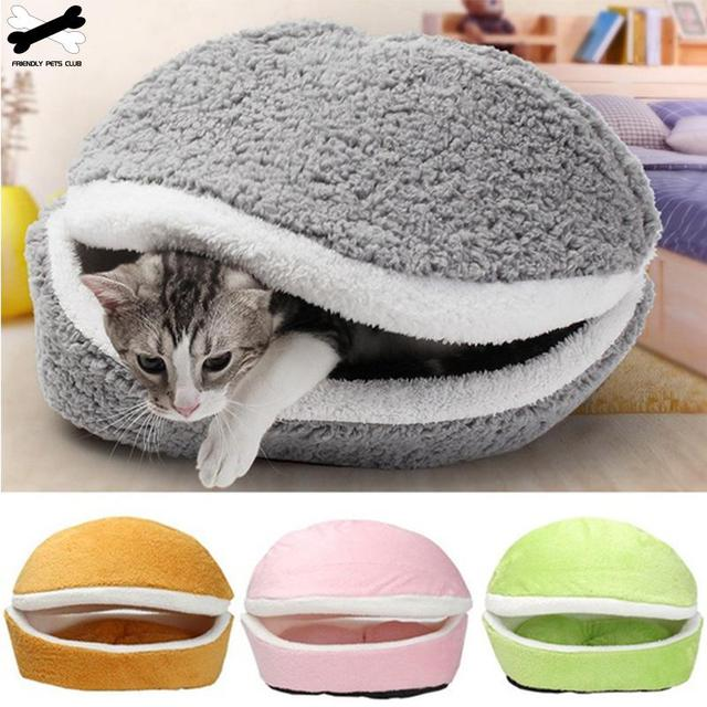 Cat Bed Sleeping Bag Sofas Mat Hamburger Dog House Short Plush Small Pet Bed Warm Puppy Kennel Nest Cushion Pet Products 4