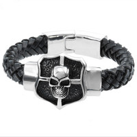 M 316L Stainless Steel Jewlery Men Gift Jewelry Skull Skeleton Silver Bangle,Fahion, modern, wholesale