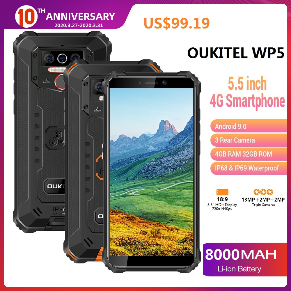 OUKITEL WP5 IP68 Waterproof Smartphone Android 9.0 5.5''HD+ Quad Core 13MP 4GB 32GB 8000mAh Tri-proof 5V/2A Mobile Cell Phone