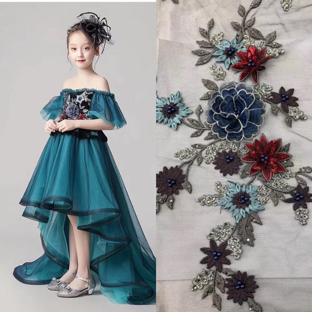 Stylish Elegance Wedding Lace Fabric Beaded 3d Flower Fabric Embroidered Bridal/evinging/show Dress Lace Fabric 5 Yards