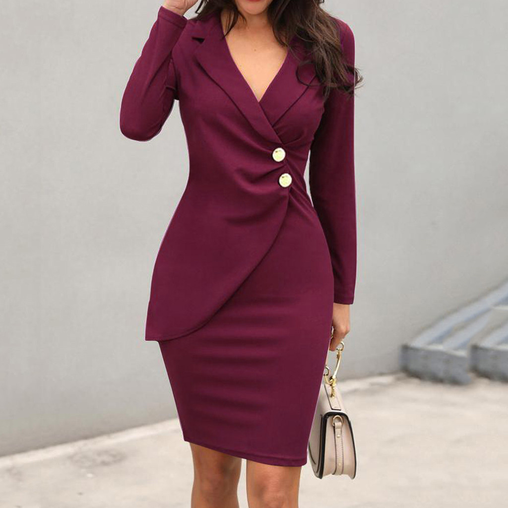2019 Fashoin Women Dress Solid Turn Down Neck Long Sleeve Buttons Bodycon Casaul Work Formal Dress