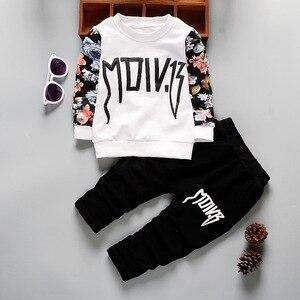 Детская футболка и штаны на весну и осень, костюмы из 2 предметов, спортивные костюмы для маленьких мальчиков и девочек, комплекты одежды в б...