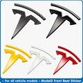 Аксессуары для переднего логотипа Tesla модель 3 углеродное волокно ABS Model3 Автомобильная Передняя Задняя Наклейка Автомобильные украшения ло...