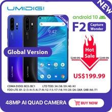 "UMIDIGI F2 טלפון אנדרואיד 10 6GB 128GB הגלובלי גרסת NFC 6.53 ""FHD + 48MP AI Quad מצלמה 32MP Selfie Helio P70 נייד 5150mAh"