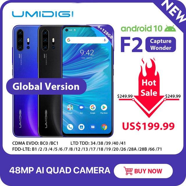 """UMIDIGI F2 telefon Android 10 6GB 128GB küresel sürüm NFC 6.53 """"FHD + 48MP AI dörtlü kamera 32MP Selfie Helio P70 cep telefonu 5150mAh"""