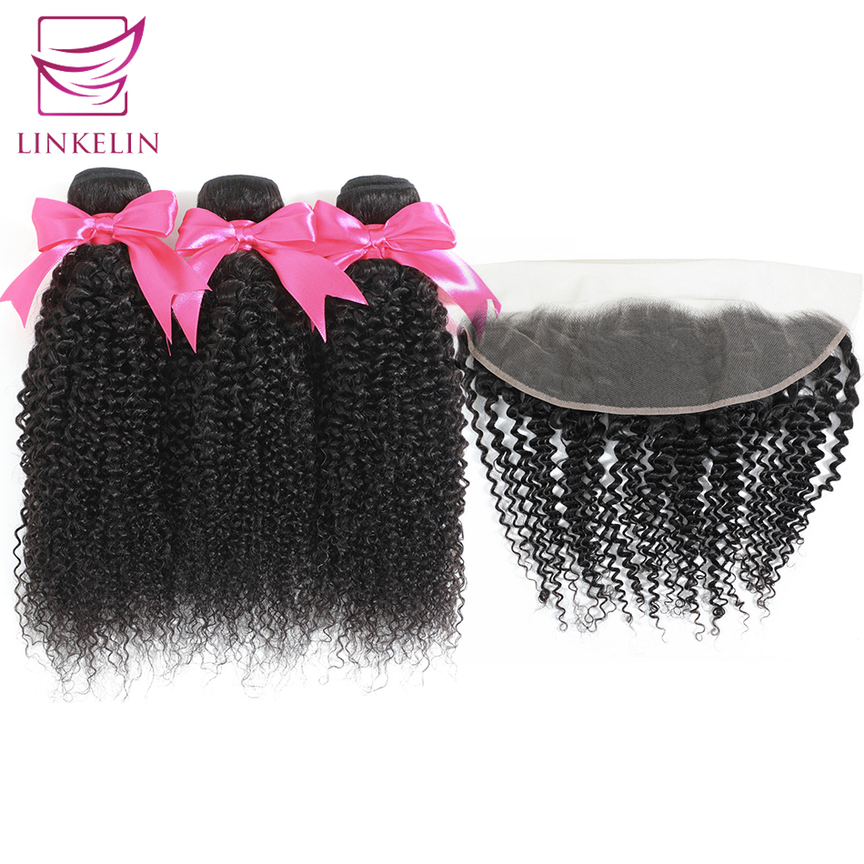 Kinky Curly Bundles With Frontal Malaysian Remy Human Hair Bundles With Frontal 13*4 LINKELIN HAIR Weave Bundles With Closure