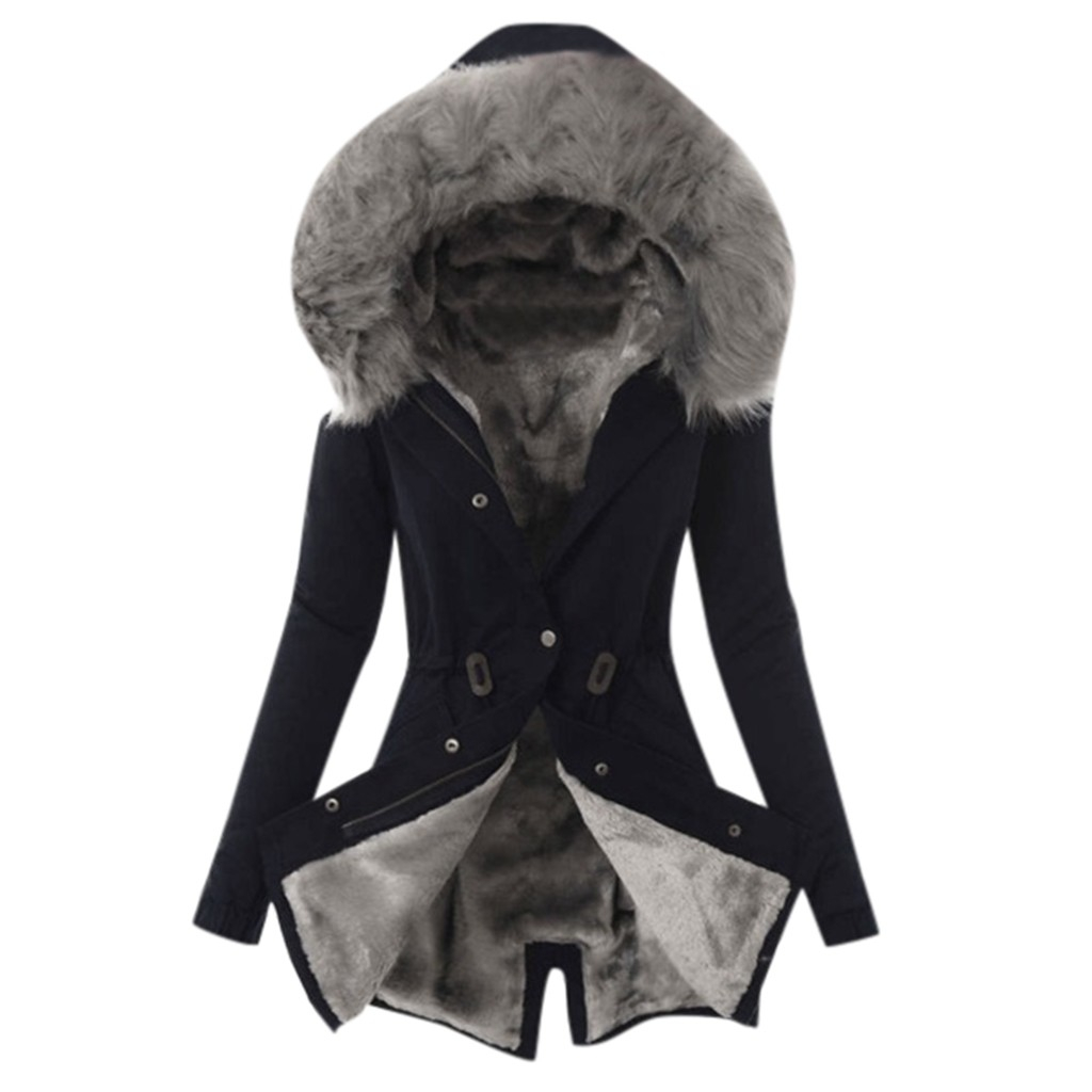 CHAMSGEND 2019 New Parkas Woman Winter Coat Thicken Cotton Jacket Outwear Faux Fur Coats Thick Hooded Overcoat 1024