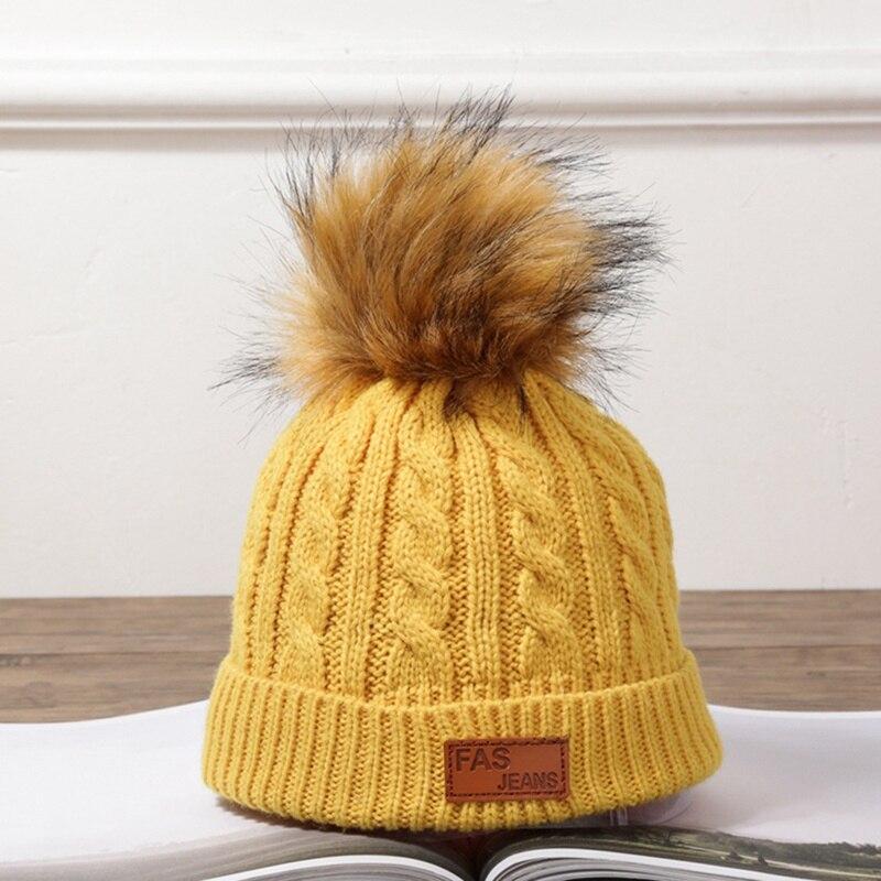 ソリッドカラーのビーニー秋冬甘いかわいいニット帽子ファッション暖かいユニセックスキャップふわふわポンポンボール黄色