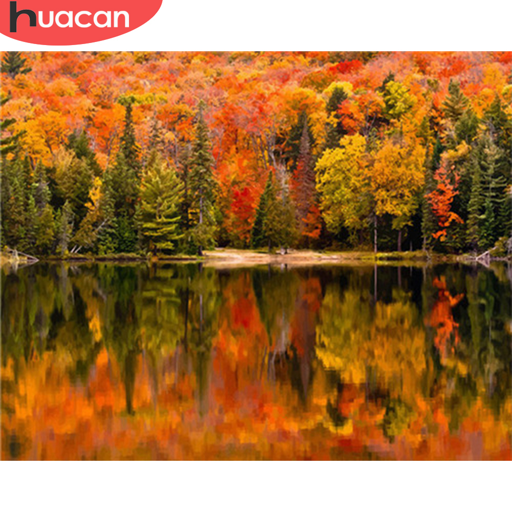 HUACAN Painting By Numbers Landscape Kits Drawing Canvas DIY HandPainted Pictures Coloring Autumn Art Gift Home Decor