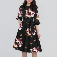 Vestido casual feminino meia manga impressão festa elegante vestidos das senhoras elegantes do vintage na altura do joelho vestidos sem cinto 2021 vestido de verão