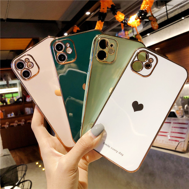 Electroplated Love Heart Phone Case For iPhone 12 Pro 11 Pro Max XR X XS Max 7 8 Plus Soft Silicone Camera Protective Back Cover 2
