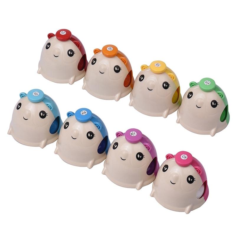 8 unids/set juego de campanillas de percusión de mano con forma de ratón de dibujos animados bonitos coloridos para niños