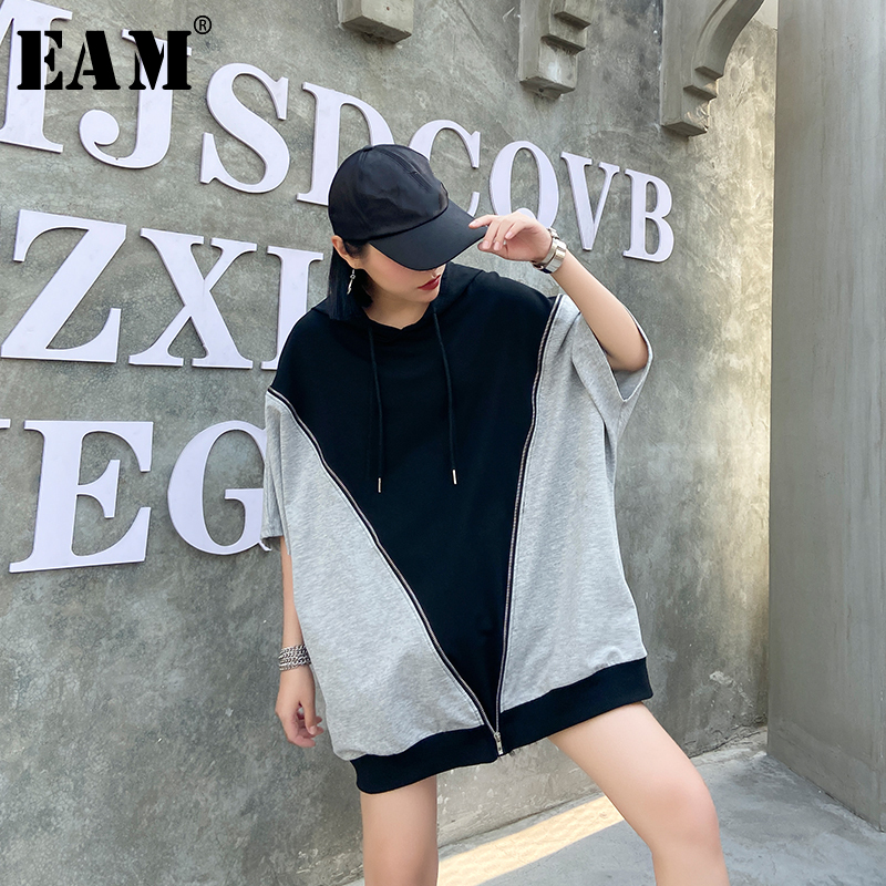[EAM] Loose Fit Gray Contrast Color Stitch Sweatshirt New Hooded Long Sleeve Women Big Size Fashion Tide Spring 2020 1U091