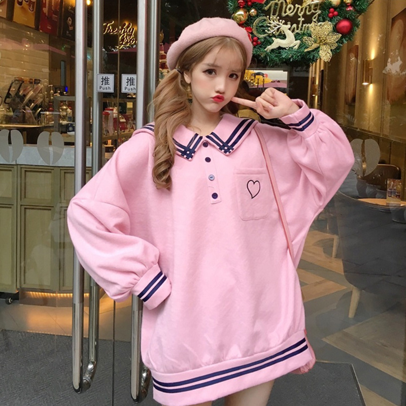 Japanese Harajuku Women School Uniform Sailor Collar White Blue Pink Oversized Pullover Embroidery Fleece Autumn Warm Outerwear