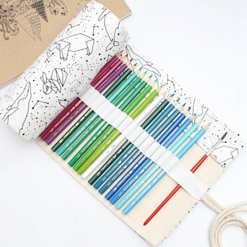Simple And Portable 36/48/72 Holes Big Constellation Pencil Case Canvas Roll Pouch Pencilcase Sketch Brush Pen Pencil Bag Tools