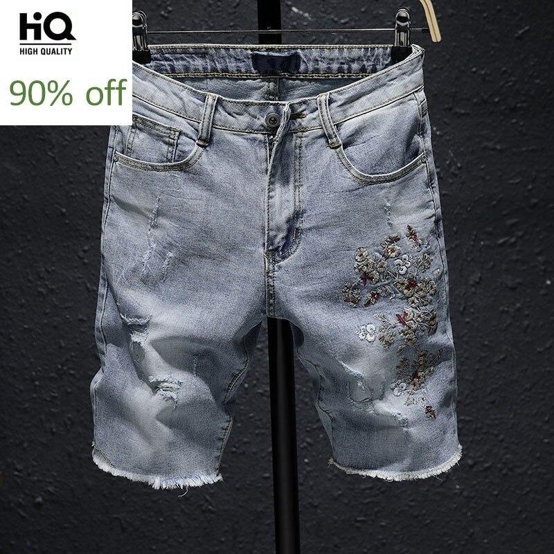 Summer Lightweight Denim Shorts Men Embroidery Flower Cowboy Hot Pants Casual Zip Cargo Jean Shorts Men Breeches