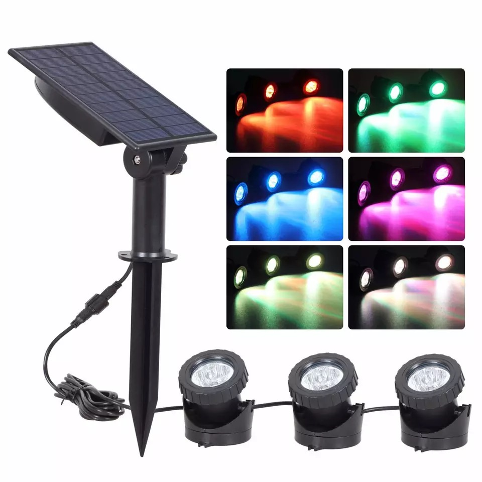 10W50W outdoor solar colorful RGB lawn lights outdoor colorful lighting bright waterproof large solar panels remote floodlights LED Lawn Lamps    - title=