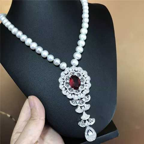 freshwater pearl white near round  10-11mm red zircon pendant necklace 18inch  wholesale nature beads for xmas gift