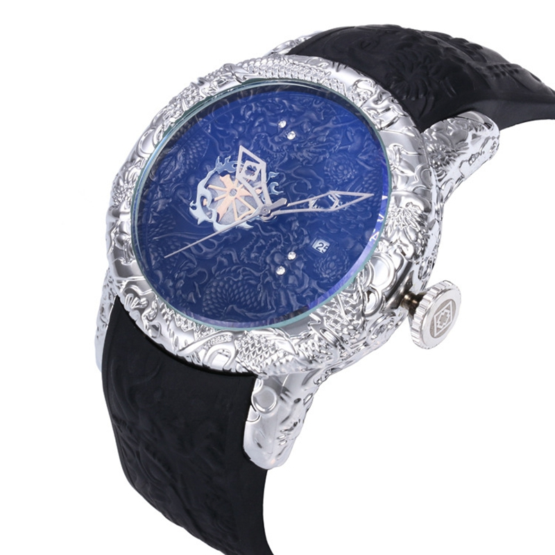Luxury Brand 3D Engraved Dragon Men Watches Waterproof AAA Sports Quartz Watch for Men Wrist Watch montre homme