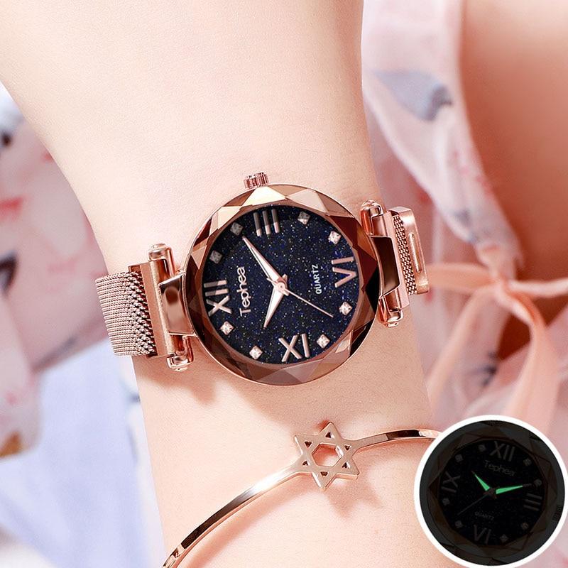 Luxury Rose Gold Women Watch 2019 Magnetic Starry Sky Wrist Watch For Ladies Female ClockWaterproof Reloj Mujer Relogio Feminino