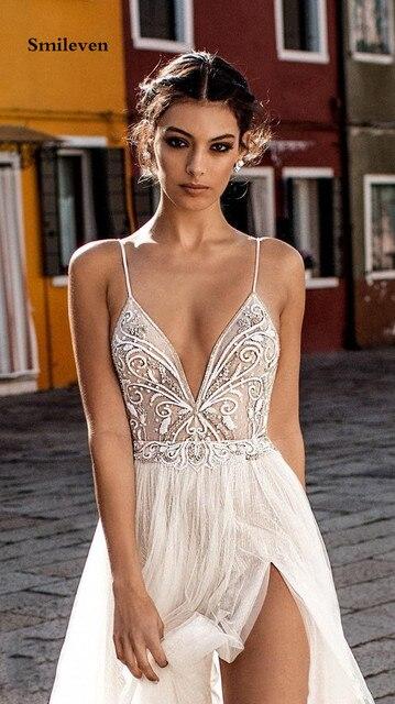 Smileven Beach Wedding Dress Boho vestido de noiva Bohemian Side Split Lace Bridal Dress Backless Spaghetti Straps Wedding Gowns 4