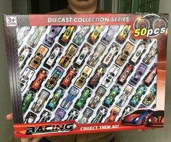 50 шт./компл. детские игрушки для мальчиков Игрушки-машинки сплав гоночный автомобиль модель коллекция мини Тип Модель автомобиля 1: 64