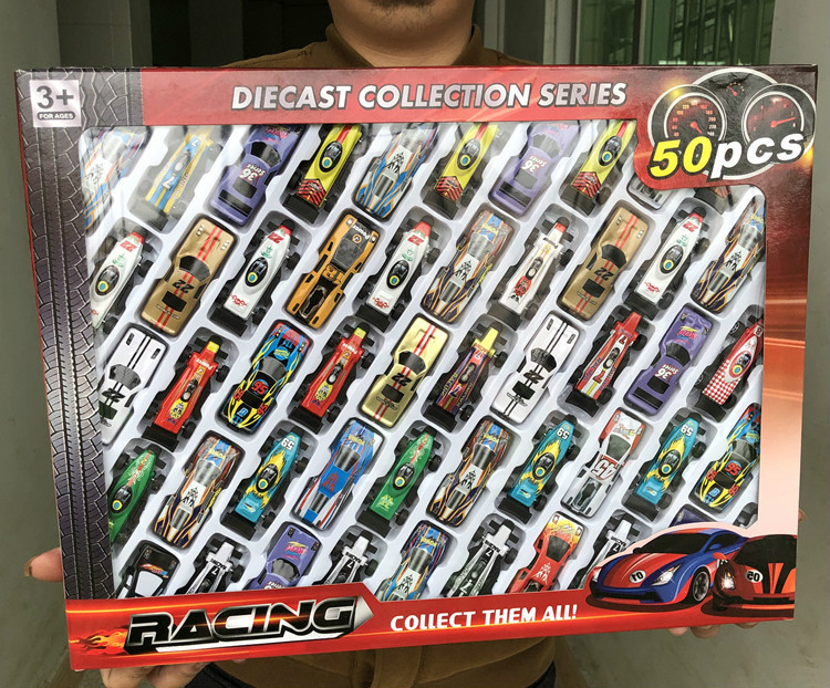 50pcs /set Kids Boy Toys Automobile Toys Alloy Racing Car Model Collection Mini Type Vehicle Model 1:64