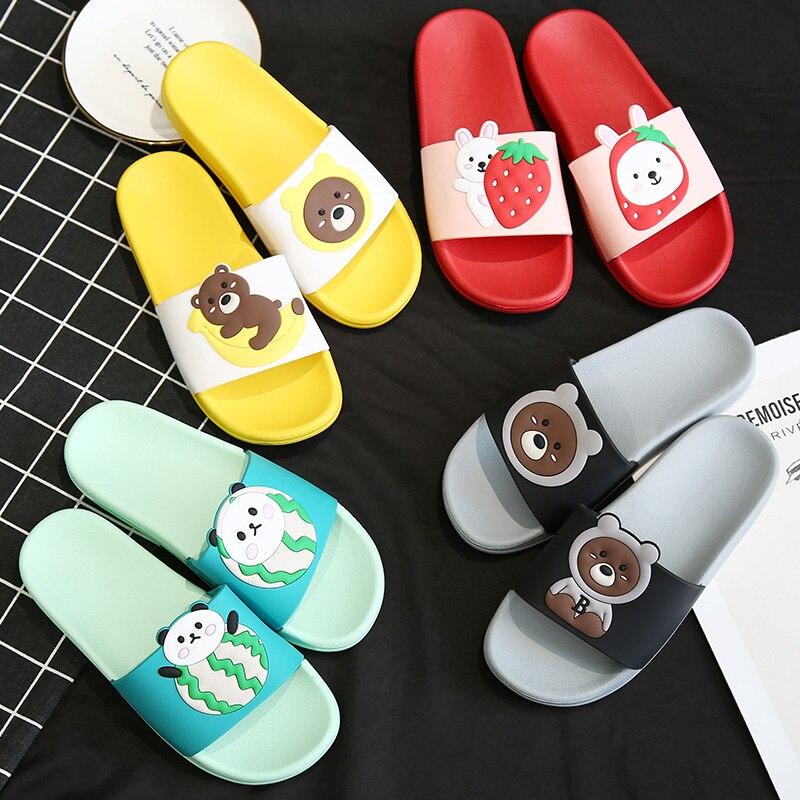 Summer Slides Women Slippers Cartoon Fruit Strawberry Banana Watermelon Bear Beach Slides Slide Sandals Women Couples Shoes