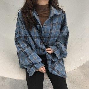 Korean Style Oversized Plaid Shirts Blouse Women Autumn Cotton Blouse Long Sleeve Plus Size Blouses 2020 Button Up Shirt Blusas