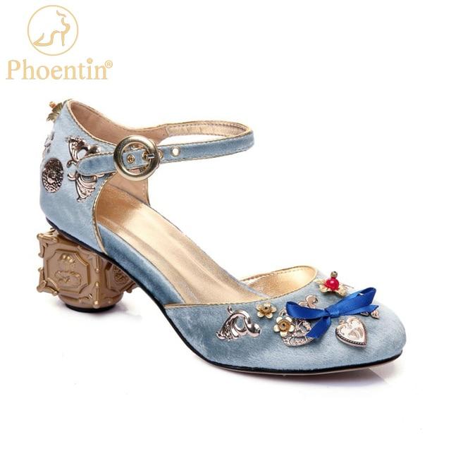 Phoentin azul veludo mary jane sapatos flores em forma de coração decoração estranho metal saltos borboleta nó fivela bombas sapatos ft268