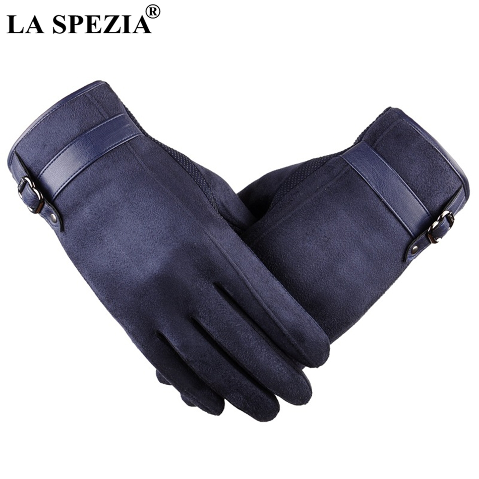 LA SPEZIA Mens Suede Gloves Touch Screen Male Navy Blue Velvet Gloves Thermal Solid Patchwork Leather Autumn Winter Mittens Men