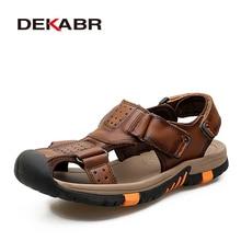 DEKABR Marke Männer Echtes Leder Sandalen Mode Hausschuhe Männlichen Atmungsaktive Sommer Strand Schuhe Sandalen Casual Männer Schuhe Größe 38 ~ 45