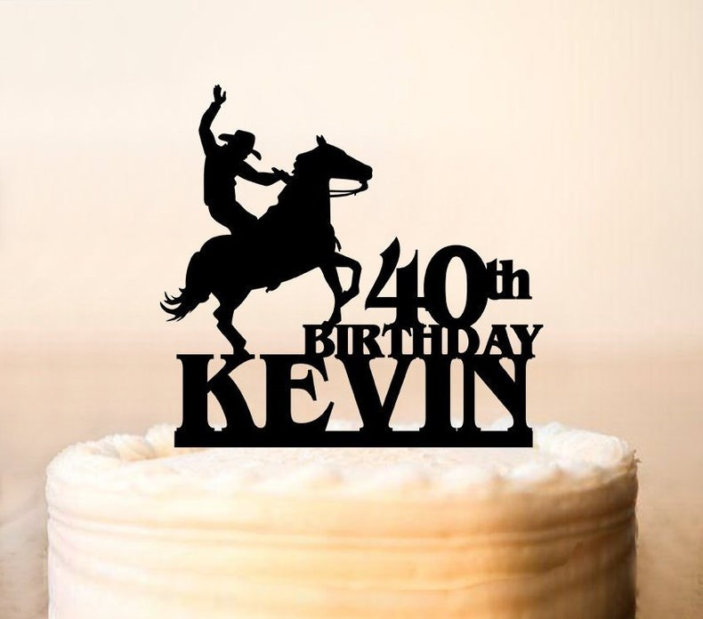 Strange Rodeo Cake Topper Cowboy Cake Topper Cake Topper With Horse Cowboy Funny Birthday Cards Online Alyptdamsfinfo