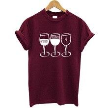 New Fashion Women T Shirt Goblet Printed Short Sleeve O-neck Funny T-shirt Wine Casual Women Tee Shirt Streetwear Clothes Brand цена