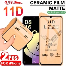 2/1Pcs Matte Frosted Ceramic Tempered Glass for IPhone 12 Pro Max Mini Screen Protectors For IPhone 11 Pro Max X XS XR 7 8 Plus