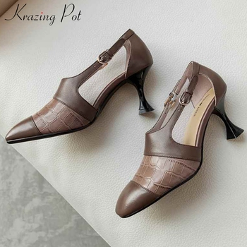 Krazing pot vintage mixed colors print genuine leather chic buckle square toe high heels women fashion mature spring pumps L11