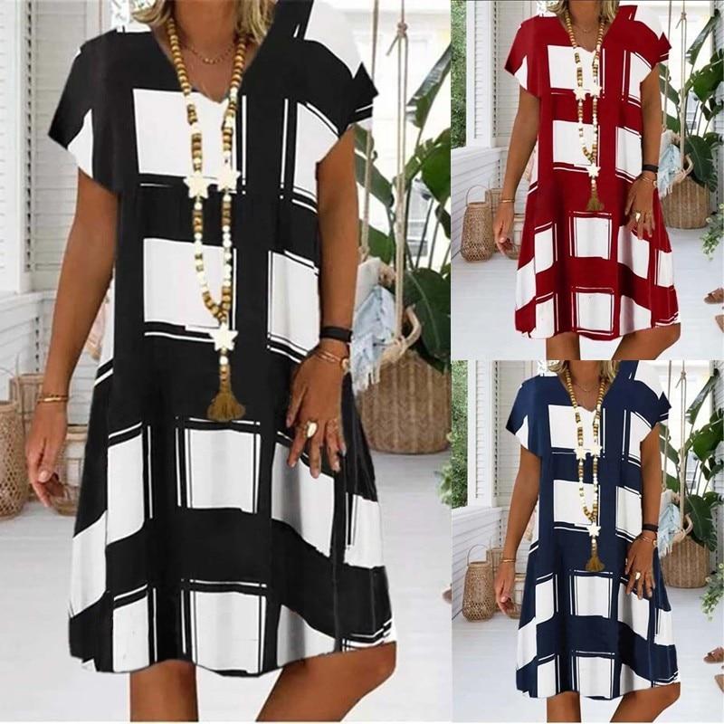 Summer Lattice Print Casual Dress Women's V-neck Short Sleeve Vintage Dresses For Women Plus Size Beach Boho Loose Midi Dress 4