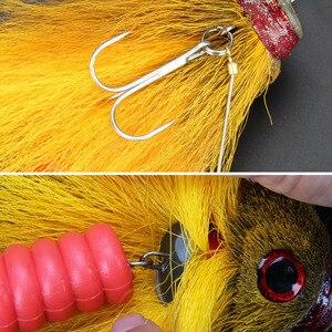 Image 5 - Novo pique pesca com mosca 35g/17cm material do cabelo dos cervos grande mouse seco mosca ganchos com resina isca truta mosca pesca moscas 6 cores