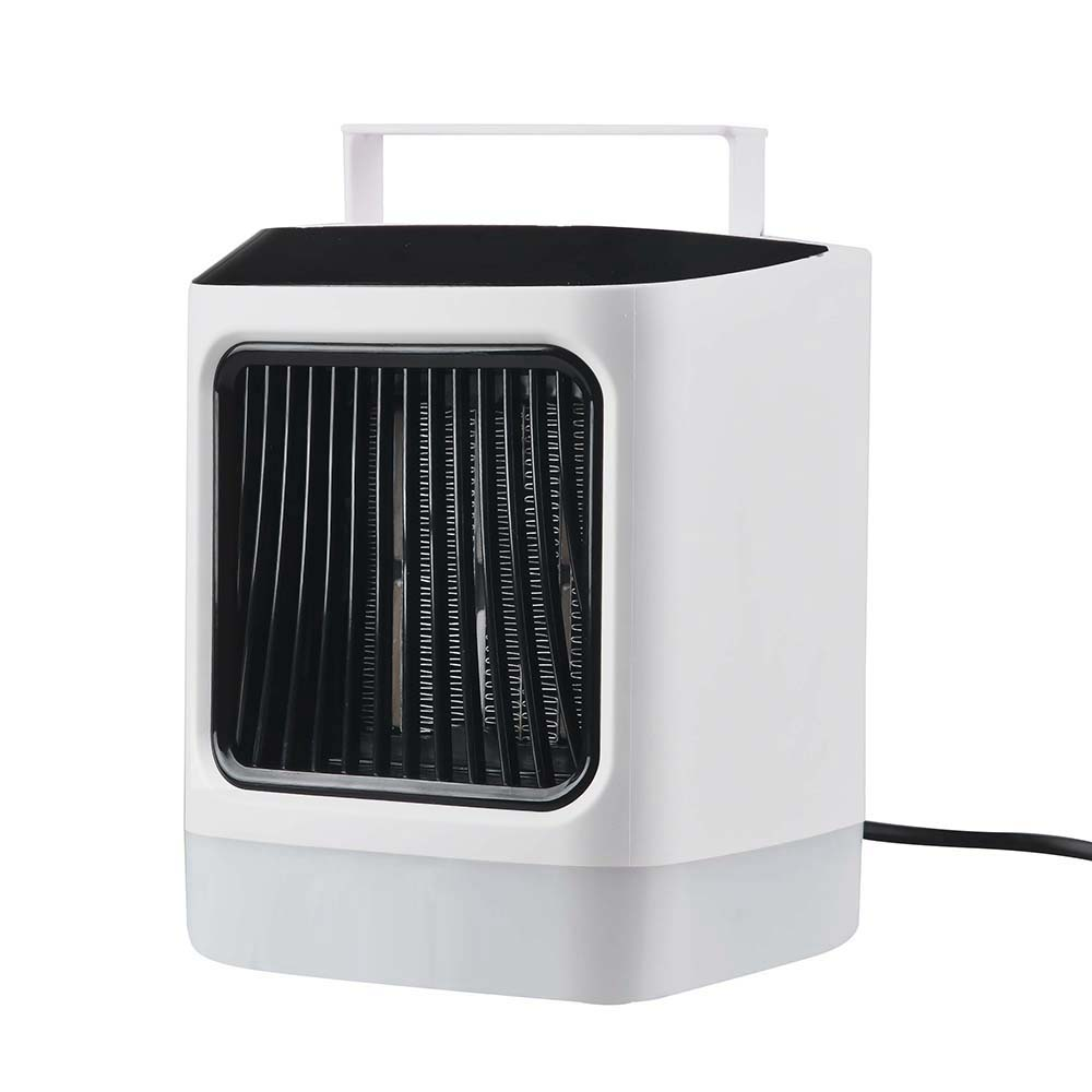 Mini ventilateur de chauffage électrique de bureau avec lumière d'ambiance colorée Portable et 2 télécommande de réglage de la vitesse du vent pour chambre/bureau