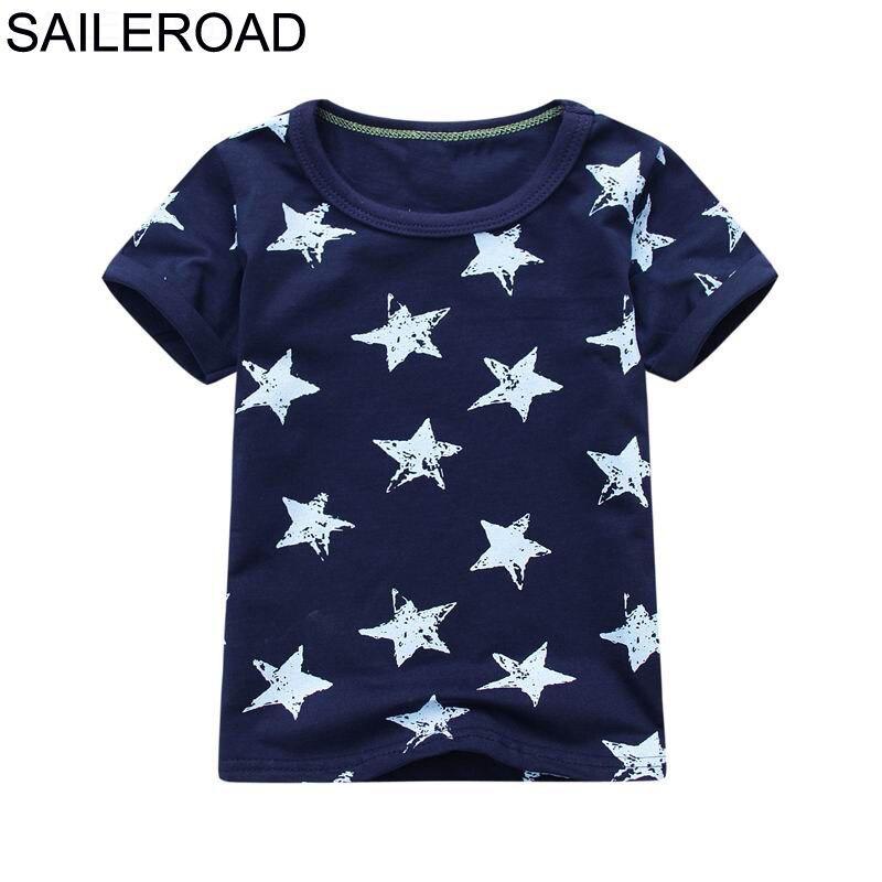 SAILEROAD Algodão Estrela Bebê Meninos Tops Tees Camisa de T Para Novo Verão Criança Infantil Crianças Roupas de Manga Curta de Moda Roupas de Menino