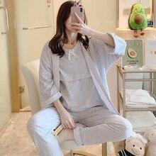 1677# 100% Cotton Maternity Nursing Sleepwear 3PCS/set Breastfeeding Pajamas Sets Pregnancy Breast F