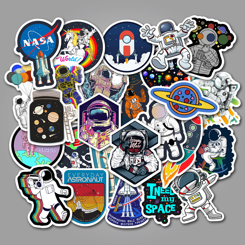 50Pcs Space Science Stickers Spaceship Alien Stickers for Skateboard Laptop Car Styling Luggage Vinyl Decal Waterproof Stickers