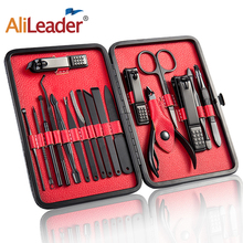 Alileader Manicure Nail Clippers Stainless Steel Black Nail Cutter Kit Pedicure Care Portable Tool Set Manicure Nail Art Tools manicure pedicure tools stainless steel blue dolphin nail clippers grooming kit wh998