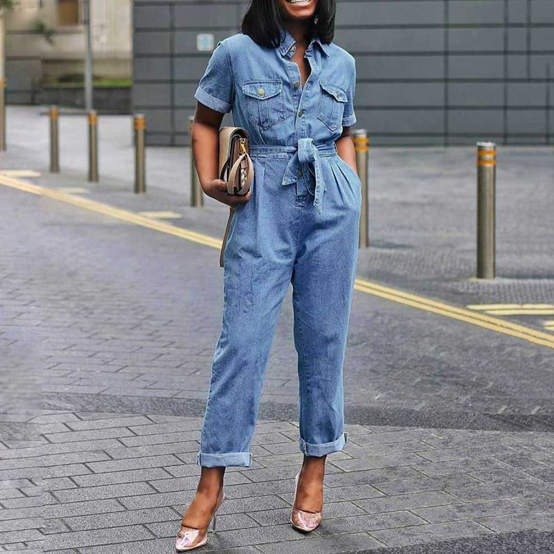 Comaba Womens Big Pockets Tie Knot V-Neck Denim Romper Jumpsuit Playsuit with Belt