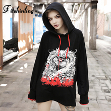 Fitshinling BF Style Cool Winter Womens Hoodies Harajuku Buttons Print Black Hoody Goth Dark Punk Long Hooded Sweatshirt Female