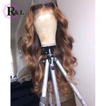RULINDA 1B/27 Омбре цвет кружева передние человеческие волосы парики с детскими волосами 13*4 бразильские объемные волнистые не Реми волосы парики шнурка 130% плотность