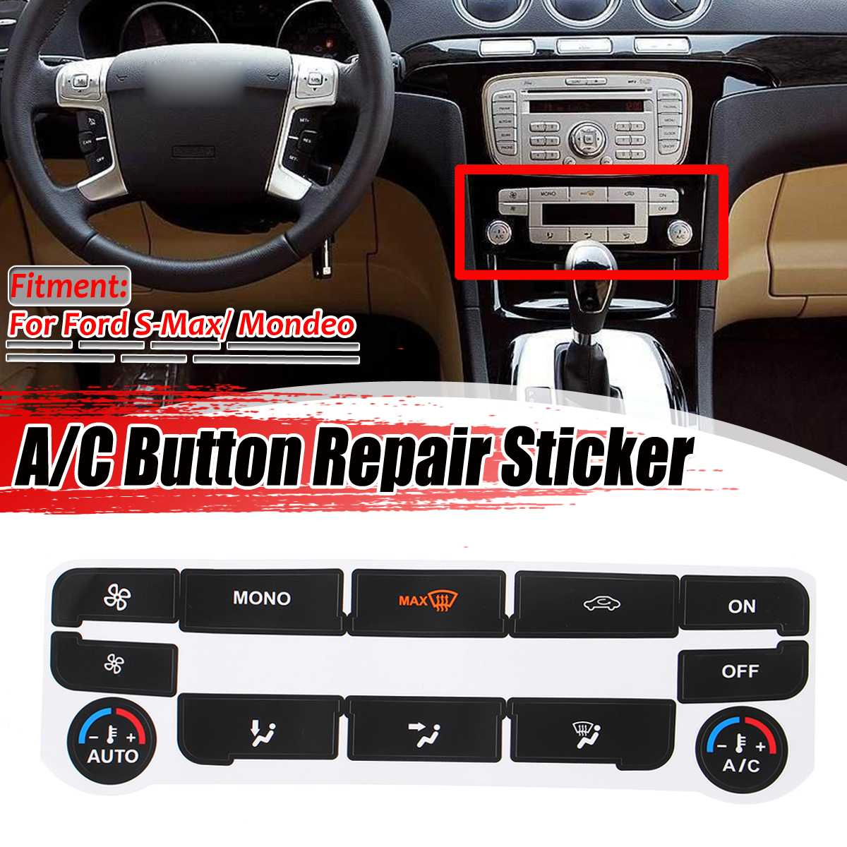 Matte Black Car Air Condition AC Climate Control Button Repair Sticker Decal For Ford S-Max/ For Mondeo Fix Ugly Button