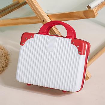 14 cal przenośny bagaż torba wodoodporna przybornik na kosmetyki carry on bagaż twarda obudowa walizka Make-up box walizki i torby podróżne tanie i dobre opinie 100 17cminch Stałe 26cminch 30cm Sprawy kosmetyczne zipper Moda YS004