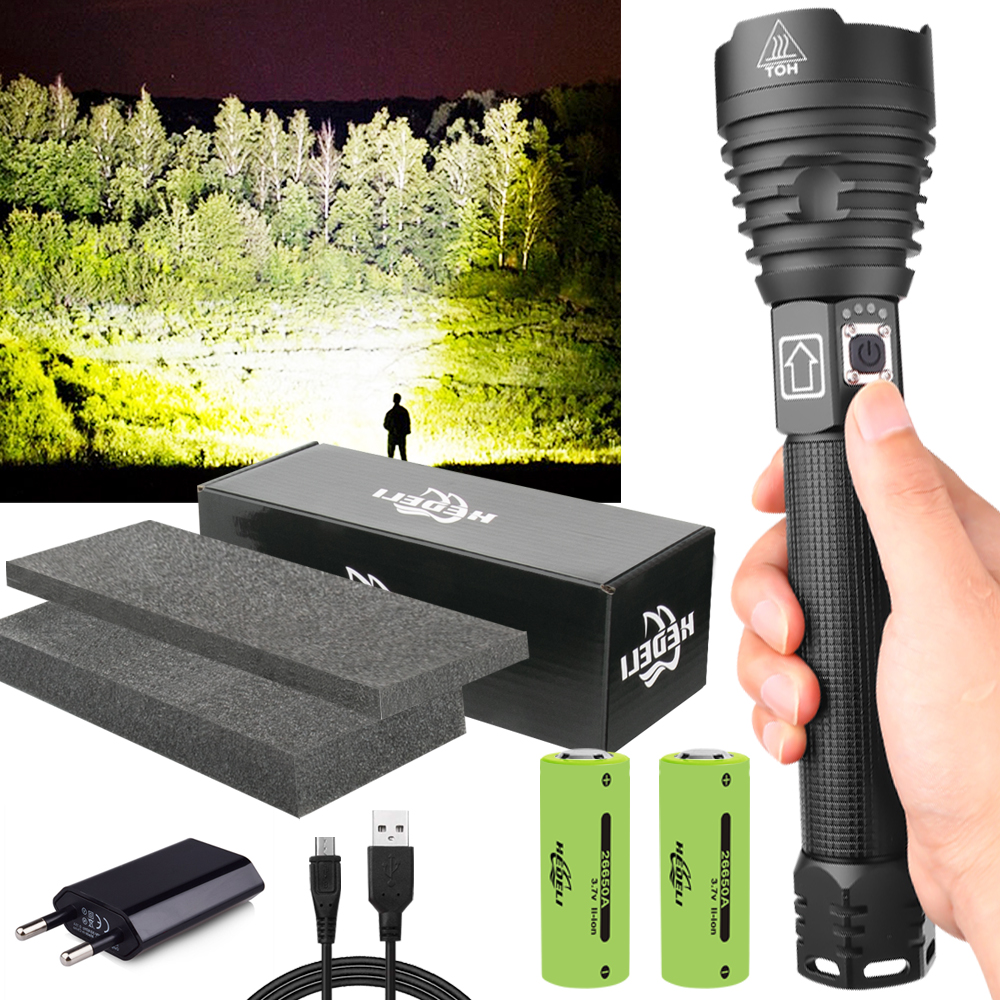 300000 Lm Led Flashlight Xhp90.2 Usb Rechargeable Xhp70 Xhp50 Tactical Torch NEW