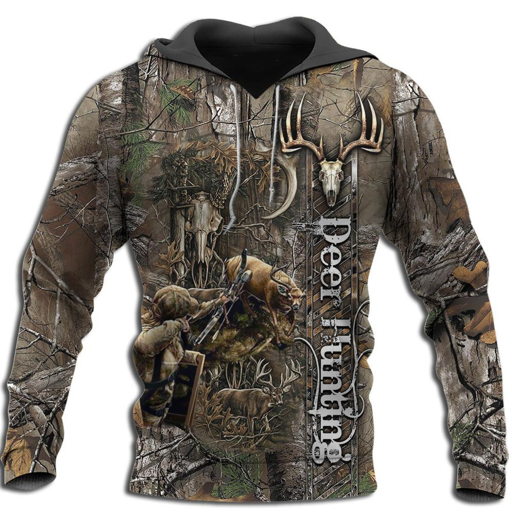 Bowhunting Deer Camo 3D All Over Printed Mens Hoodie Harajuku Fashion Sweatshirt Unisex Casual Pullover sudadera hombre KJ028
